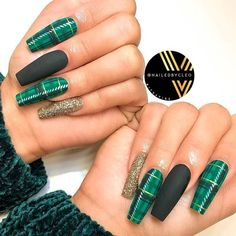 Matte Plaid For Coffin Shape ❤ 35+ Magnificent Coffin Nails Designs You Must Try ❤ See more ideas on our blog!! #naildesignsjournal #nails #nailart #naildesigns #nailshapes #coffinnails #balerinanails #coffinnailshapes