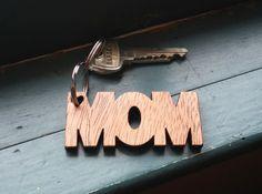 Wooden Laser Cut Mom Keychain by NinaRaizel on Etsy, $21.00