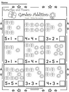 Free Addition 1 Digit Worksheet for Kindergartens - Edukidsday.com