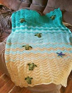 Crochet sea turtle blanket