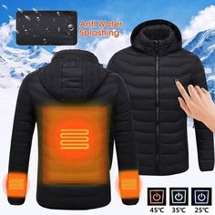 Free 2-day shipping. Buy Women's USB Charging Electric Heated Coat Soft Lightweight Hooded Jacket Thermal for Outdoor Hiking Riding Camping-Black(Size:CN:XL/US:L) at Walmart.com Work Jackets, Men's Coats And Jackets, Winter Jackets, Hunting Vest, Hunting Tips, Safety Clothing, Heated Clothing, Heated Jacket, Winter Outfits Men