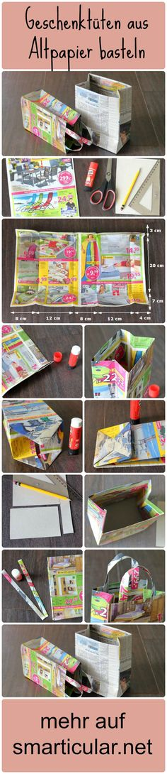 Craft gift bags from old paper - useless leaflets with .- Geschenktüten aus Altpapier basteln – Nutzlose Prospekte mit neuer Bestimmung Great crafting idea and still useful – tinker gift bags from waste paper – Looks really great ★ - Upcycled Crafts, Diy And Crafts, Easy Crafts, Craft Gifts, Diy Gifts, Homemade Gift Bags, How To Make A Gift Bag, Papier Diy, Diy Y Manualidades
