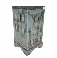 Painted Accent Table With House Motif : EBTH