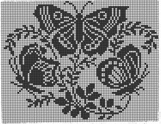 Funny Cross Stitch Patterns, Crochet Stitches Patterns, Cross Stitch Charts, Cross Stitch Designs, Knitting Stitches, Crochet Curtains, Tapestry Crochet, Crochet Doilies, Butterfly Cross Stitch