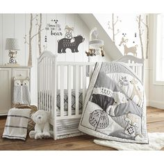 Levtex Baby Bailey Charcoal & White Woodland Themed 5 Piece Crib Bedding Set 190945026217 | eBay