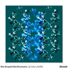 Blue Bougainvillea floral pattern Poster. #Abstract #Floral #Poster