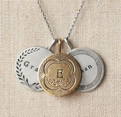 RH baby&child's Personalized Token Charm Necklace:Once common currency at amusement venues nationwide, our hand-stamped discs – inspired by vintage tokens – share the original's intaglio etch work and aged patina. Personalized with initials or a name, they make a lasting statement of those near and dear.