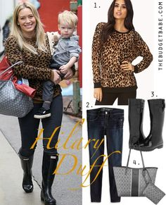 Hilary Duff's leopard sweater, Goyard tote bag and Hunter rain boots look for less