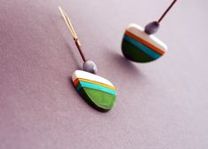 Contemporary hand sculpted polymer clay earrings by Marizhka