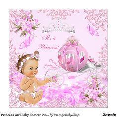 Shop Princess Girl Baby Shower Pink Carriage Ethnic Invitation created by VintageBabyShop. Baby Shower Pin, Elegant Baby Shower, Baby Shower Vintage, Butterfly Baby Shower, Baby Shower Princess, Boho Baby Shower, Princess Girl, Girl Shower, Royal Princess