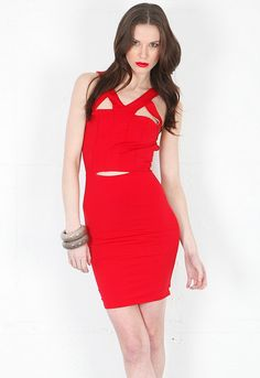 Donna Mizani Ultra Soft Harness Dress in Red  $189