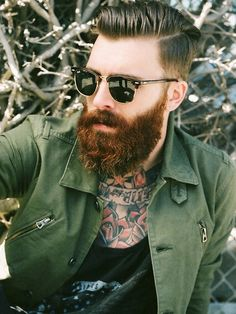 Levi Stocke - full thick red beard and mustache auburn beards bearded man men mens' style casual street fashion tattoos tattooed redhead ginger handsome #beardsforever