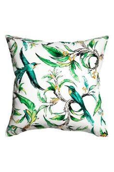 Printed cushion cover: Cushion cover in a soft, patterned cotton weave with a solid colour back and concealed zip.