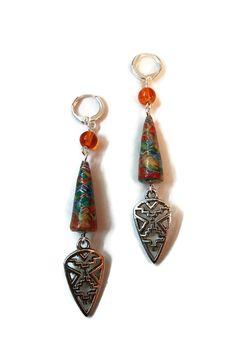 Boucles d'Oreilles Ethniques Multicolores Perles en Papier Perles Oranges : Boucles d'oreille par cap-and-pap