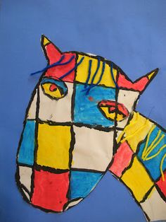 In this lesson students learned about the artist Piet Mondrian , how to draw a horse and learned about the primary colors . The first st. Piet Mondrian, 2nd Grade Art, Encaustic Art, Dutch Artists, Art Lesson Plans, Elementary Art, Art Activities, Oeuvre D'art, Art Lessons
