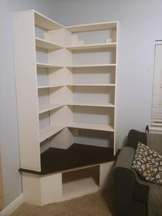 Bookshelves In Bedroom, Corner Bookshelves, Library Bedroom, Bookshelf Design, Room Ideas Bedroom, Bedroom Decor, Simple Bookshelf, Bookcases, Room Corner