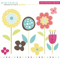 Mod Flowers Clip Art - INSTANT DOWNLOAD - For Personal & Commercial Use - Digital Designs