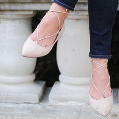 Steve Madden blush LECREW lace up ballet flats NWT Brand new LECREW trend alert lace up flats in blush cream pink color. Worn once down the street and realized they were too small  Steve Madden Shoes Flats & Loafers