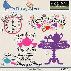DIGITAL DOWNLOAD ... Tea time vectors in AI, EPS, GSD, & SVG formats @ My Vinyl Designer #myvinyldesigner #bluebird