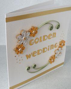 quilling wedding | Quilled golden wedding anniversary card by PaperDaisyCardDesign