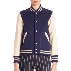 Marc Jacobs Embroidered Varsity Jacket ($850) ❤ liked on Polyvore featuring outerwear, jackets, apparel & accessories, navy, blue letterman jacket, blue jackets, letterman jackets, long sleeve jacket and marc jacobs jacket