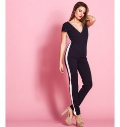 Ολόσωμη Φόρμα με Ρίγα στο πλάι - Μπλε-Navy Jumpsuit, Fashion Outfits, Dresses, Overalls, Vestidos, Monkeys, Jumpsuits, The Dress, Dress