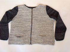 TALBOTS WOMAN Heather Gray Blue Metallic Full Zip Knit Jacket Size 3X Plus #Talbots #BasicJacket