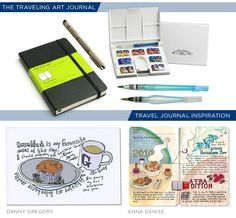Perfect tools to have for the traveling art journal and two visual artists to admire!