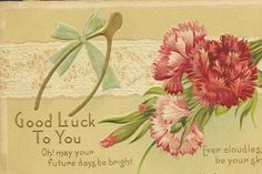 Carnations of Pink and Red Wishbone on Embossed by TheOldBarnDoor