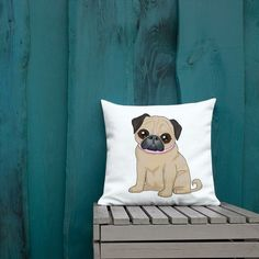 Need a pug gift to add a splash of color to your home? Pug pillows are so cute! These custom pillows are really big and soft &The pug looks adorable.