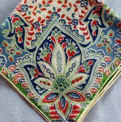 Vintage Floral Bouquet Corner BLUE ORANGE PAISLEY Hanky Handkerchief Hankies