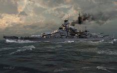 Una bella imagen del Bismarck durante el combate del Estrecho de Dinamarca, cortesía de Thomas Schmid. La mejor colección de láminas en http://www.elgrancapitan.org/foro/