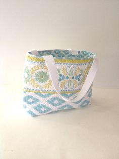 Light Blue and Green Quilted Tote Bag on Etsy, $24.00