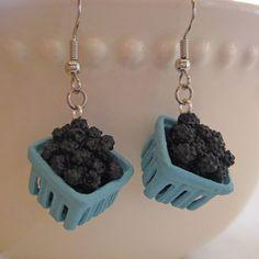 Pint of Blackberries Earrings  Food Jewelry by Artwonders on Etsy, $14.00