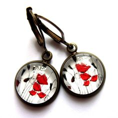 Red Poppy Flower Earrings Glass and Brass Fashion Jewelry