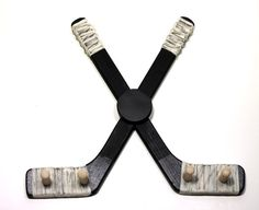 Hockey Stick Medal Rack - Hangs Medals - BLACK - the Best Gift for Hockey Fans and Players via Etsy Hockey Crafts, Hockey Decor, Sled Hockey, Hockey Mom, Hockey Man Cave, Medal Rack, Hockey Bedroom, Hockey Tournaments, Hockey Party
