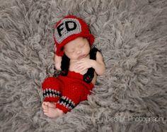 Newborn photo prop-crochet baby firefighter set-fireman hat-newborn suspender pants-fireman helmet-firefighter prop