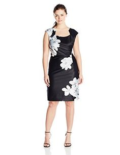 Calvin Klein Women's Plus-Size Cap Sleeve Floral Print Side Gathered Dress, Black/Multi, 22W Calvin Klein http://www.amazon.com/dp/B017BQQRAW/ref=cm_sw_r_pi_dp_YPYVwb019YTZ7