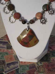 Picasso Jasper Pendant Night and Day Charmed by BlackBearsBazaar, $72.00