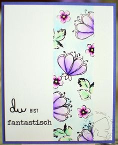 CASEd card inspired by #juliaaltermann from #www.just-one-more-card.com Watercolor Strip made with #wplus9 #doodlebuds #altenew #vintageflowers colored with #zigcleancolorrealbrush sentiment #danipeuss #klartext