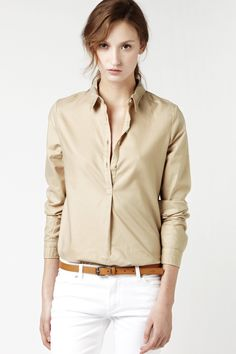 LACOSTE Long Sleeve Lightweight Popover Woven Shirt : Tops & Tees