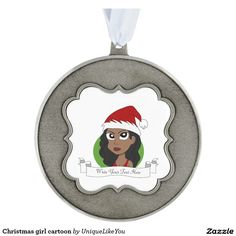 Christmas girl cartoon scalloped pewter christmas ornament