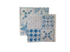 Blue or Black Tiles linen napkins set of 4 by AquaDoorDesigns