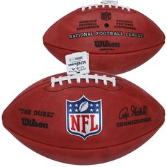 """Throughout American sports history, no other brand has been partnered with a league longer than Wilson has been with the NFL. Not only has every point scored in the NFL been with a Wilson Football, but every Wilson NFL game ball has been handcrafted in Ada, OH by skilled craftsmen and women for decades.""""The Duke"""" NFL football was named in honor of the game's pioneering legend and NY Giants owner, Wellington Mara. Back when Mara was a young boy taking in the game from the sidelines, the… Wilson Football, Nfl Football Games, Football Field, Hall Of Fame Game, Football Hall Of Fame, Peyton And Eli Manning, Duke Game, Fantasy Football Champion"""