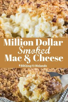 Million Dollar Smoked Mac and Cheese is the epitome of comfort food. The smoky flavor enhances the cheesy gooey goodness. Million Dollar Smoked Mac and Cheese is the epitome of comfort food. The smoky flavor enhances the cheesy gooey goodness. Smoker Grill Recipes, Smoker Cooking, Grilling Recipes, Electric Smoker Recipes, Smoked Mac N Cheese Recipe, Mac Cheese, Grilled Mac And Cheese, Smoked Cheese, Smoker Mac And Cheese