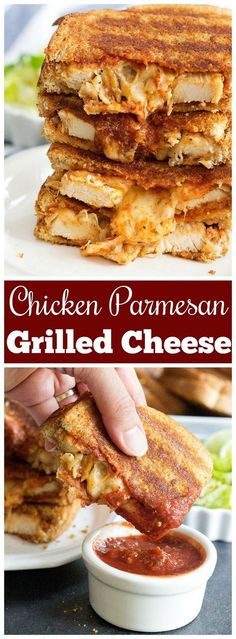 Chicken Parmesan Grilled Cheese Sandwich is the best of both worlds! You'll … Chicken Parmesan Grilled Cheese Sandwich is the best of both worlds! You'll love a delicious chicken sandwich with marinara sauce! Roast Beef Sandwich, Sandwich Bar, Soup And Sandwich, Best Sandwich, Wrap Recipes, Lunch Recipes, Cooking Recipes, Budget Cooking, Cooking Rice