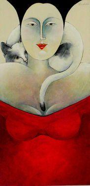 "Saatchi Art Artist Carla Raadsveld; Painting, ""double portret"" #art"