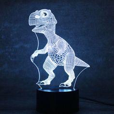 3D USB LED Table Desk Lamp Kids Visual Night Light Besides Light Fixture Baby Sleeping Nightlights Cute Dinosaur Model Lamp Gift #Affiliate