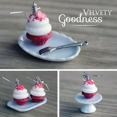 Polymer Clay Miniature Food Jewelry - Red Velvet Cupcake Dangling Earrings. $14.00, via Etsy.