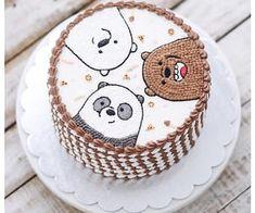 we bare bears cake 🍰 Cute Cakes, Pretty Cakes, Bear Birthday, Birthday Cake, Bolo Tumblr, Bts Cake, Cartoon Cakes, Bear Party, Cute Desserts